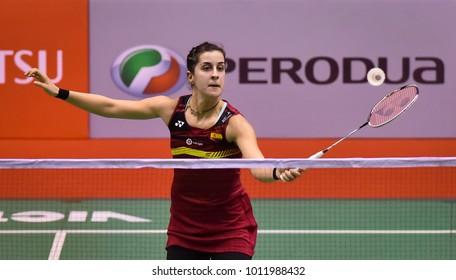 KUALA LUMPUR, MALAYSIA - JANUARY 21, 2018 : Carolina Marin of Spain Women's Single during the Perodua Malaysia Masters 2018 at Axiata Arena, Bukit  Jalil.