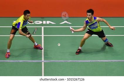 KUALA LUMPUR, MALAYSIA - JANUARY 21, 2018 : Goh V Shem and Tan Wee Kiong of Malaysia Men's Doubles during the Perodua Malaysia Masters 2018 at Axiata Arena, Bukit  Jalil.