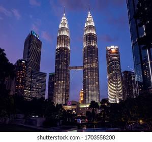 Kuala Lumpur, Malaysia - January 22, 2019: Petronas twin Towers at night