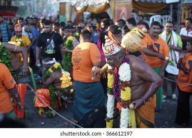 Kuala Lumpur, Malaysia - January 24, 2016: Malaysian Hindu devotee seen at Batu caves temple during the Thaipusam festival celebrations