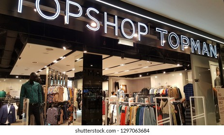 Kuala Lumpur / Malaysia - January 25 2019: Topshop (originally Top Shop) is a British multinational fashion retailer of clothing, shoes, make-up and accessories. It has around 500 shops worldwide