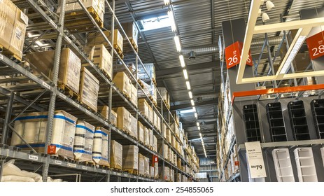 KUALA LUMPUR, MALAYSIA - JANUARY 25, 2015: Warehouse storage in an IKEA store. Founded in 1943, IKEA is the world's largest furniture retailer. IKEA operates 351 stores in 43 countries.