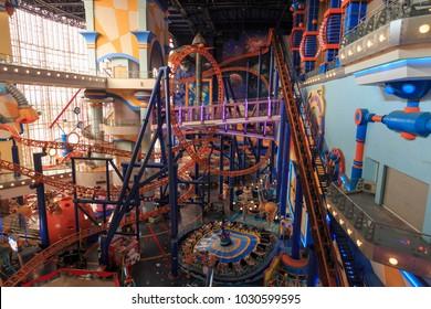 Kuala Lumpur, Malaysia: January 26, 2018: Roller coaster inside the Berjaya Times Square Theme Park in Kuala Lumpur, Malaysia.