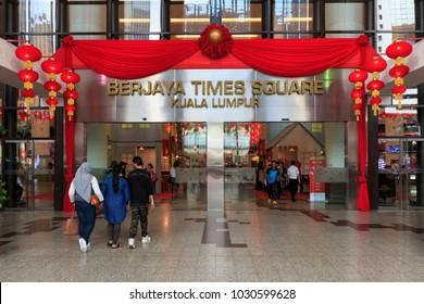 Kuala Lumpur, Malaysia: January 26, 2018: Tourists walking inside the Berjaya Times Square Mall in Kuala Lumpur, Malaysia.
