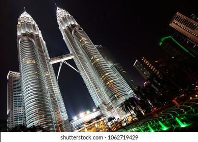 Kuala Lumpur, Malaysia - January 26, 2014: KL Petronas Twin Towers at night.