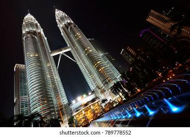 Kuala Lumpur, Malaysia - January 26, 2014: Petronas Twin Towers at night.