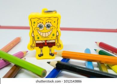 Kuala Lumpur, Malaysia - JANUARY 29, 2018: Popular Spongebab with smiling face wearing school uniform