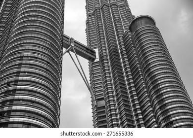 Kuala Lumpur, Malaysia - January 3, 2015: Closeup view of the Petronas Twin Towers in Kuala Lumpur, Malaysia on January 3, 2015.