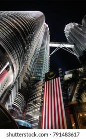 Kuala Lumpur, Malaysia - January 30, 2009: KL Petronas Twin Towers at night.
