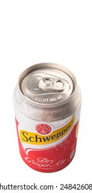 KUALA LUMPUR, MALAYSIA - JANUARY 30TH 2015. Schweppes is a beverage brand with a variety of carbonated waters and ginger ales. Popular Schweppes products includes ginger ale, introduced in 1870.