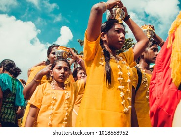 KUALA LUMPUR, MALAYSIA - JANUARY 31, 2018: Hindu devotees celebrate Thaipusam festival with procession and offerings. Girls portrait. Religion concept. Culture and traditions. Asia travel