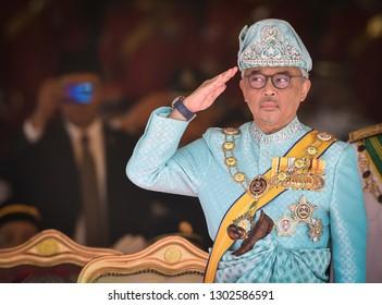 Kuala Lumpur, Malaysia- January 31, 2019 : The new 16th King of Malaysia, Al-Sultan Abdullah Ri'ayatuddin Al-Mustafa Billah Shah during the welcoming ceremony at the Parliament House.