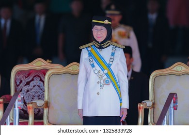 KUALA LUMPUR, MALAYSIA - JANUARY 31, 2019. Malaysia's Deputy Prime Minister, Wan Azizah Wan Ismail at the welcoming ceremony for the 16th King of Malaysia.