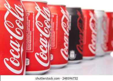 KUALA LUMPUR, MALAYSIA - JANUARY 31ST, 2015. Various type of Coca Cola drinks. Coca Cola drinks are produced and manufactured by The Coca-Cola Company, an American multinational beverage corporation.