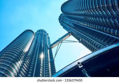 Kuala Lumpur, Malaysia - January 5, 2019: The Petronas Towers is the tallest twin towers in the world