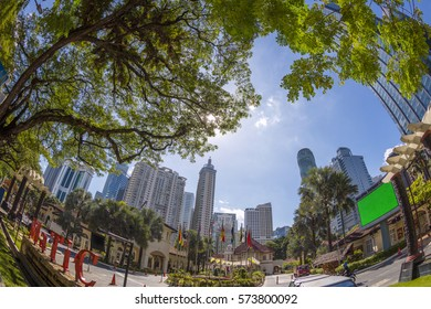 Kuala Lumpur, Malaysia - January 6., 2017: Kuala Lumpur City Center (KLCC), a multipurpose development area in Kuala Lumpur, Malaysia.
