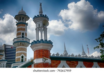 KUALA LUMPUR, MALAYSIA - JANUARY 6: Jamek Mosque on 6 Januar 2018 at Kuala Lumpur. Jamek Mosque is a historical mosque in KL built at the beginning of the 20th century.