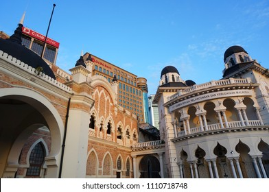 Kuala Lumpur / Malaysia - January 7 , 2016 : beautiful vintage buildings are near the building of OCBC bank and CIMB bank located in city center