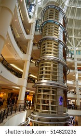 Kuala Lumpur, Malaysia -January 7, 2016: Interior of Suria KLCC shopping mall. It is six level shopping mall near Petronas Twin Towers
