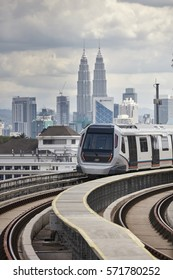 Kuala Lumpur, Malaysia - January 7, 2017: Mass Rapid Transit (MRT) train. MRT is new public transport for everyone in Klang Valley with launch of the first line from Sungai Buloh to Klang (SBK)