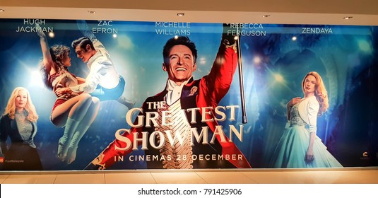KUALA LUMPUR, MALAYSIA - JANUARY 8, 2018: The Greatest Showman Movie Poster;  is a 2017 American historical period drama musical film directed by Michael Gracey