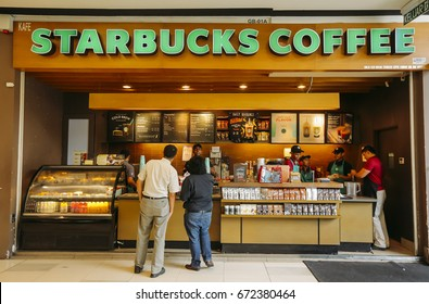 KUALA LUMPUR, MALAYSIA - JULY 04, 2017 : Starbucks store. Starbucks Corporation is an American coffee company and coffeehouse chain.