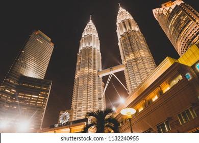 Kuala Lumpur / Malaysia - July 09 2013: Beautiful Petronas Twin towers at night