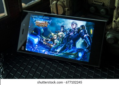 KUALA LUMPUR, MALAYSIA - July 11, 2017 : Mobile Legends games app for strategy moba gaming 5v5 online.