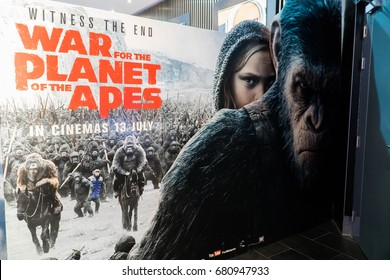 KUALA LUMPUR, MALAYSIA - JULY 11, 2017: War for the Planet of the Apes movie Poster. A sequel to Rise of the Planet of the Apes (2011) and Dawn of the Planet of the Apes (2014)