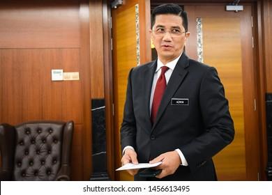 Kuala Lumpur / Malaysia - July 11,2019: Malaysia's Parti Keadilan Rakyat(PKR) deputy president Azmin Ali during the Dewan Rakyat at the Parliament building in Kuala Lumpur.