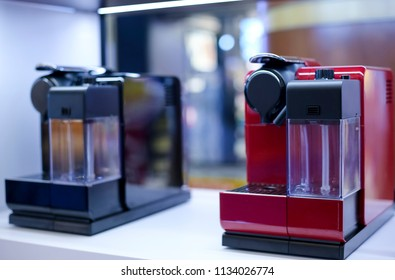 KUALA LUMPUR, MALAYSIA - JULY 13, 2018 : Nespresso coffee machines. Nespresso is the world leader in coffee machines and coffee maker technology.