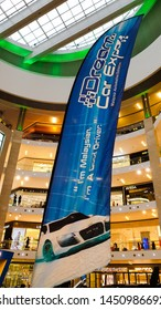 Kuala Lumpur / Malaysia - July 13, 2019: Display of the blue flag for The Dream Car Expo, Malaysia Automotive Exhibition held in Pavilion Kuala Lumpur at Bukit Bintang