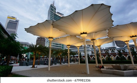 Kuala Lumpur, Malaysia – July 13, 2017 : Exterior Mosque of Masjid Jamek Kuala Lumpur.  The mosque  exterior design was based on the design of mosque in Saudi Arabia. Islamic Architecture.