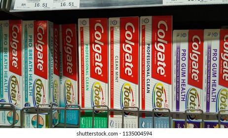 Kuala Lumpur, Malaysia - July 15 2018: Colgate toothpaste manufactured by the American consumer-goods conglomerate Colgate-Palmolive, Colgate oral hygiene products