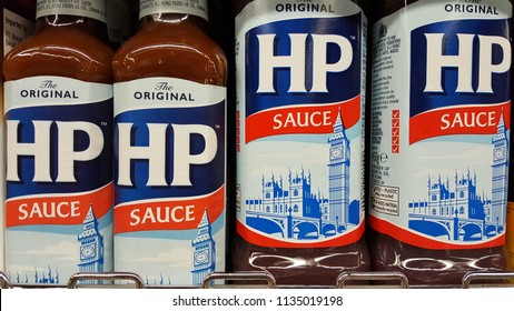 Kuala Lumpur, Malaysia - July 15 2018: HP Sauce is a brown sauce originally produced by HP Foods in the United Kingdom, now produced by the H. J. Heinz Company in the Netherlands.