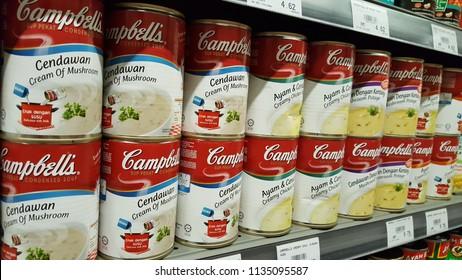 Kuala Lumpur, Malaysia - July 15 2018: Selection of Campbells soup
