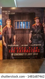 KUALA LUMPUR, MALAYSIA - JULY 15, 2019: Escape Plan The Extractors movie poster, is a American prison action thriller film features Sylvester Stallone, Dave Bautista and 50 Cents
