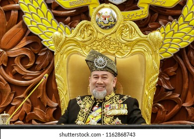 KUALA LUMPUR, MALAYSIA - JULY 17, 2018. Malaysia's King, Sultan Muhammad V sit as he arrives during the opening ceremony of Parliament session in Kuala Lumpur.