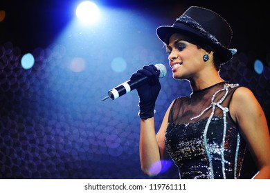 KUALA LUMPUR, MALAYSIA - JULY 17: Jaclyn Victor performs during Shout! Awards 2009 on July 17, 2009 in Kuala Lumpur, Malaysia. This award show created to celebrate Malaysian entertainment industry.
