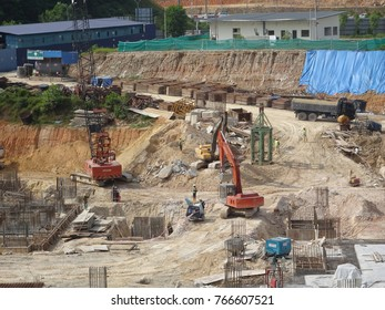 KUALA LUMPUR, MALAYSIA -JULY 17, 2017: Heavy construction machines doing building foundation works at the construction site.