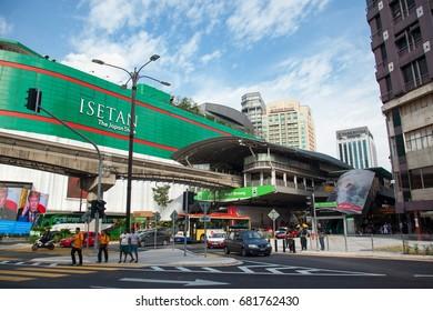 KUALA LUMPUR, MALAYSIA - JULY 18, 2017 : Bukit Bintang Monorail Train Station is situated at Bukit Bintang, a shopping hub in the Kuala Lumpur Golden Triangle commercial district