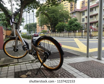KUALA LUMPUR, MALAYSIA - JULY 19TH, 2018 - random view of Obike bike sharing program in this city and get abandon because it wrecked another option of sharing bikes company such as Ofo and Mobike.