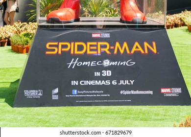 KUALA LUMPUR, MALAYSIA - JULY 2, 2017: Spider-Man: Homecoming movie statue; is an upcoming superhero film based on the Marvel Comics character Spider-Man second reboot of the film franchise