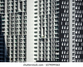 KUALA LUMPUR, MALAYSIA -JULY 20, 2017: High rise apartment building with modern facade design. Apartment housing popular in urban area in Malaysia.