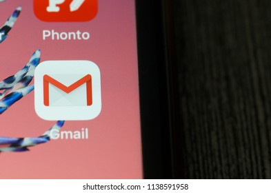 Kuala Lumpur, Malaysia, July 20, 2018; Google Gmail application icon on Apple iPhone 7 plus smartphone screen close-up. Gmail app icon. Gmail is popular internet online e-mail service.