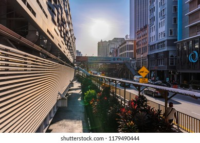 KUALA LUMPUR, MALAYSIA - JULY 20: Sentral Pudu bus station exterior during sunset in the downtown area on July 20, 2018 in Kuala Lumpur