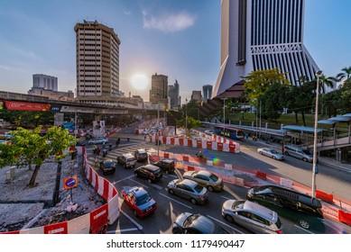 KUALA LUMPUR, MALAYSIA - JULY 20: Downtown cityscape with traffic near Sentral Pudu bus station on July 20, 2018 in Kuala Lumpur