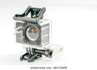 KUALA LUMPUR, MALAYSIA - JULY 20, 2017:  SJCAM action cameras with white background.
