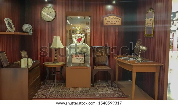 KUALA LUMPUR, MALAYSIA - JULY 20, 2019: Annabelle replica during the roadshow promotion, Annabelle is a 2014 American supernatural horror film prequel of The Conjuring