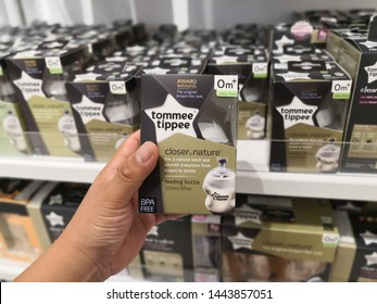 KUALA LUMPUR, MALAYSIA - JULY 2019 : Tommee Tippee baby products display for sale in Toys R Us. Tommee Tippee, a British manufacturer of baby products and toys.